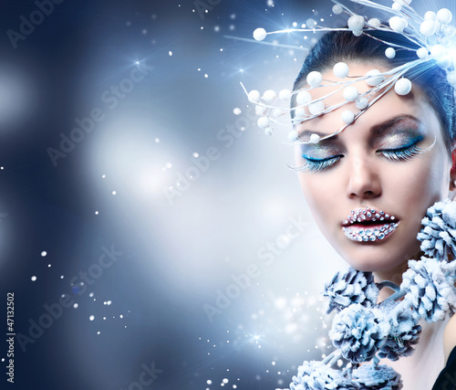 Winter Woman. Christmas Girl Makeup