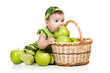 baby eating green apples from basket over white background