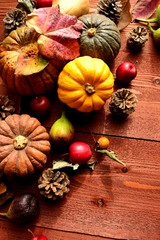 Pumpkin,fall leaf and autumn fruit