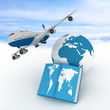 Airliner and book on sky background.