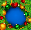 vector christmas background with Christmas balls and tree