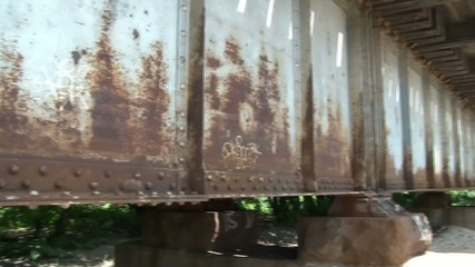 Rusty Railroad Bridge Pan Across