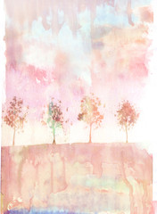 Watercolor / Abstract background with trees