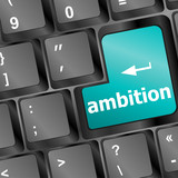 computer keyboard with ambition button - business concept poster