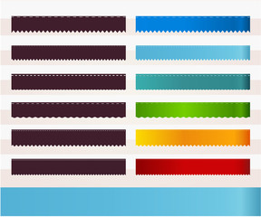 Set of colorful ribbons with zigzag edges