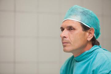 Unhappy surgeon in a hospital