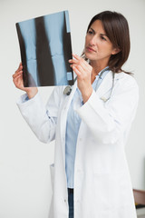 Doctor holding up x-ray and examining