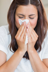 Sick woman with tissue