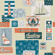 Nautical vector elements patchwork - seamless pattern
