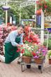 Garden center worker with trolley