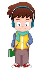 illustration of Cartoon Boy listen music