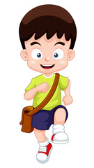 illustration of a boy go to school