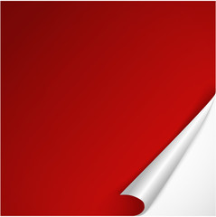 Sheet of red paper with curved corner