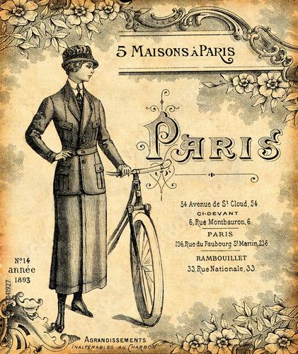 Leinwandbild Motiv Fond bicyclette 1900