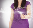 Woman standing using world map projection
