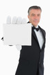 Waiter holding a card