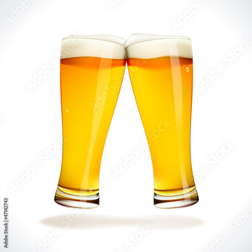 Beer splashing, two glasses