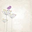 Vogel steht auf Blume – Grunge Style