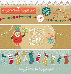 Set of Christmas and New Year's horizontal  banners