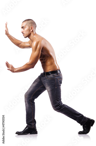 Nude man isolated on the white background