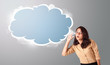 beautiful woman gesturing with abstract cloud copy space