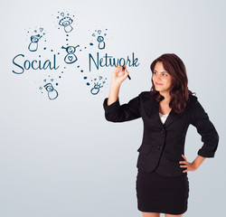 Woman draving social network theme on whiteboard