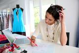 Fashion designer working on creation