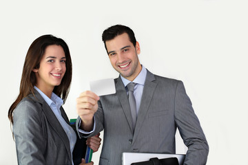 Business people showing business card