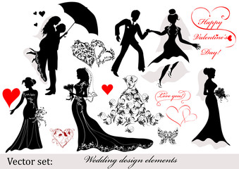 Collection of wedding design elements
