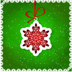 Christmas card with snowflake, Xmas card
