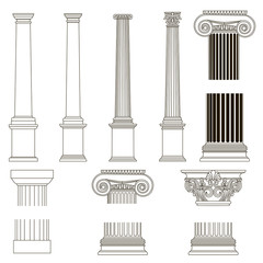 ionic column with greek key pattern