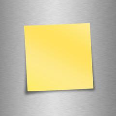 Notizzettel gelb - leer mit Metallhintergrund
