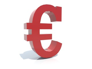Euro sign- 3D red plastic isolated