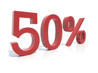 3d sign  - Discount 50 percent -red reflective plastic isolated
