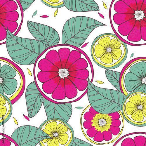 Fototapeta Lemons and flowers