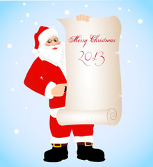 on the image cheerful Santa Claus with a banner