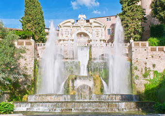 Fountain of Neptune and Organ in villa d'Este in Tivoli, Italy