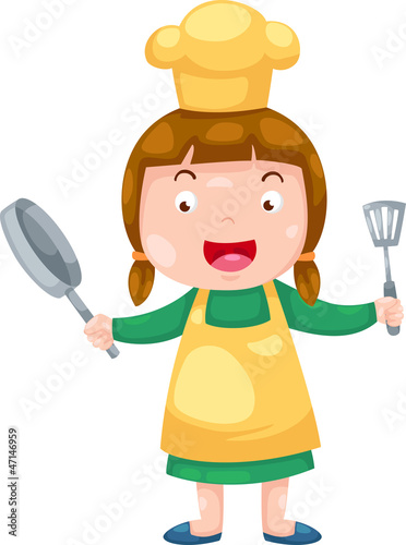 Cute Female Chef illustration vector