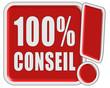 !-Schild rot quad 100% CONSEIL