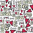 graffiti love z sercami na białym tle