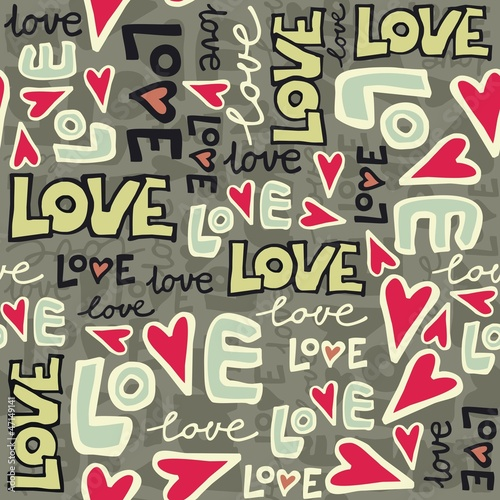 graffiti love deseń w serca na ciemnym tle