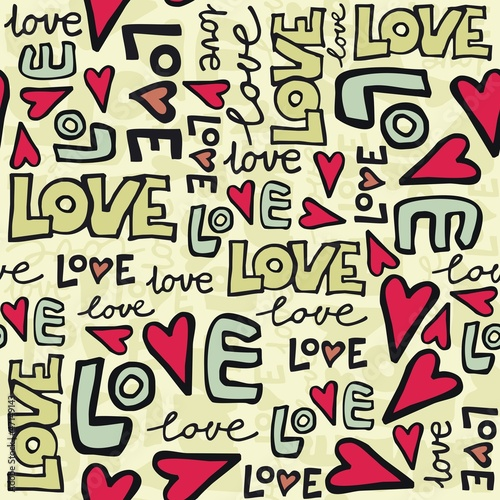 Panel Szklany miłość i serca kolorowe retro graffiti na jasnym tle