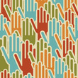 Diversity hands up seamless pattern