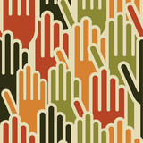 Multi-Ethnic hands seamless pattern