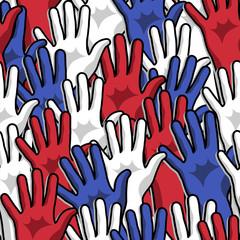 Democracy voting hands up pattern