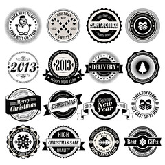 Christmas set - black and white labels, emblems.