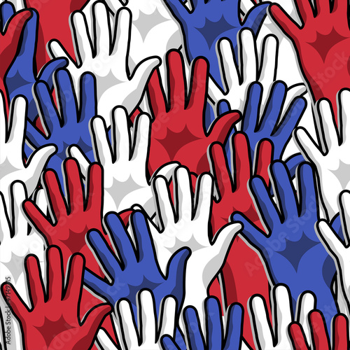 Democracy voting hands up pattern