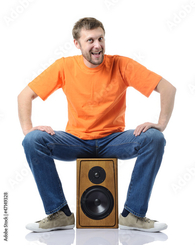 Cool funny man on the speaker, white background