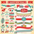 Christmas set - vintage ribbons, labels and decorative elements.