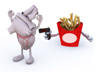 potato chips with arms wielding gun to the human heart